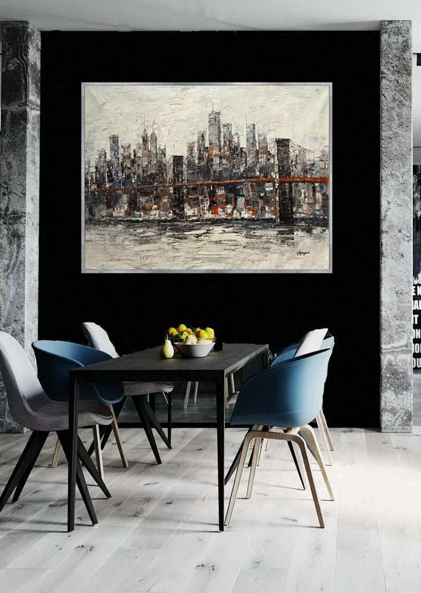 "New York Contemporary Hand Painted Palette Knife Thick Oil Painting On Canvas Extra Large Wall Art XXL 60x80"" / 150x200cm"