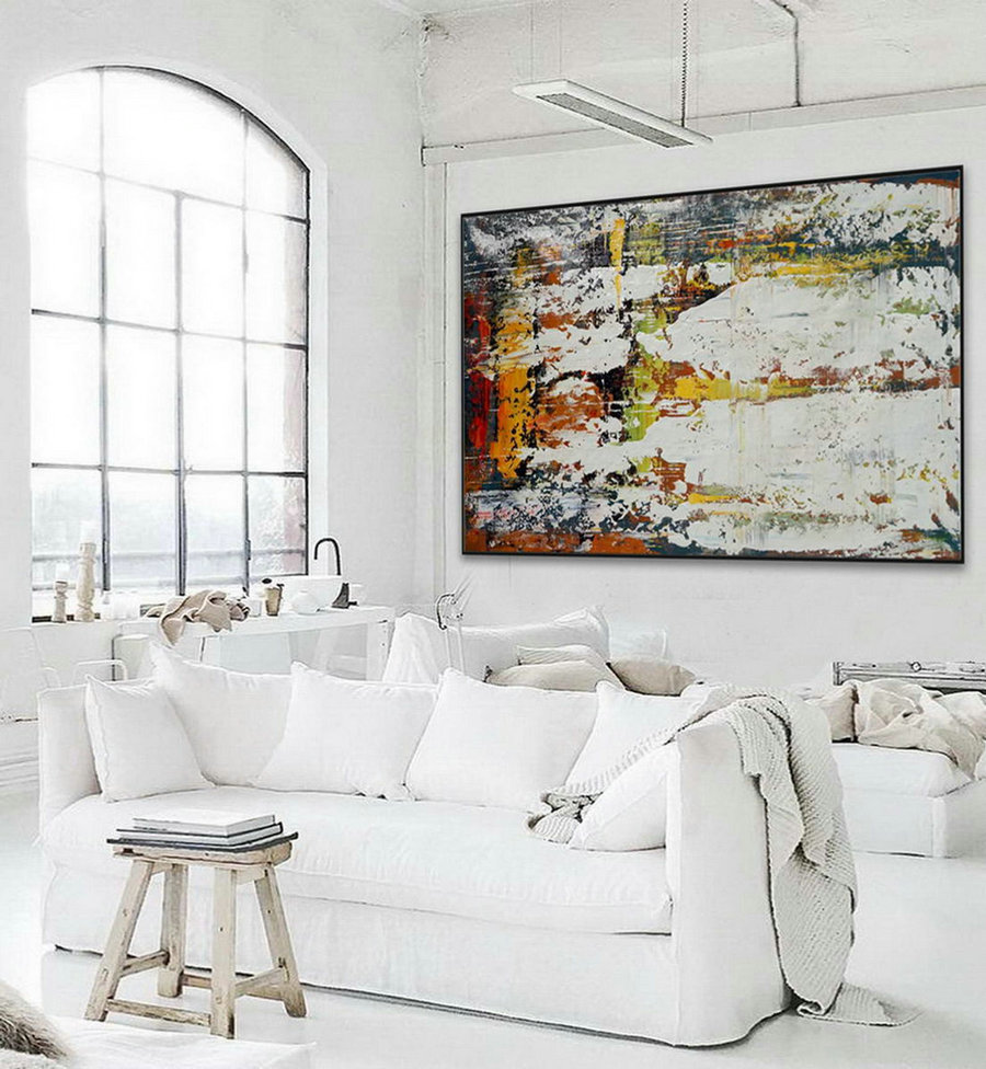 Extra Large Horizontal Modern Minimalist Contemporary Artwork Abstract wall Art Palette Knife Thick Acrylic Minimal Canvas Painting
