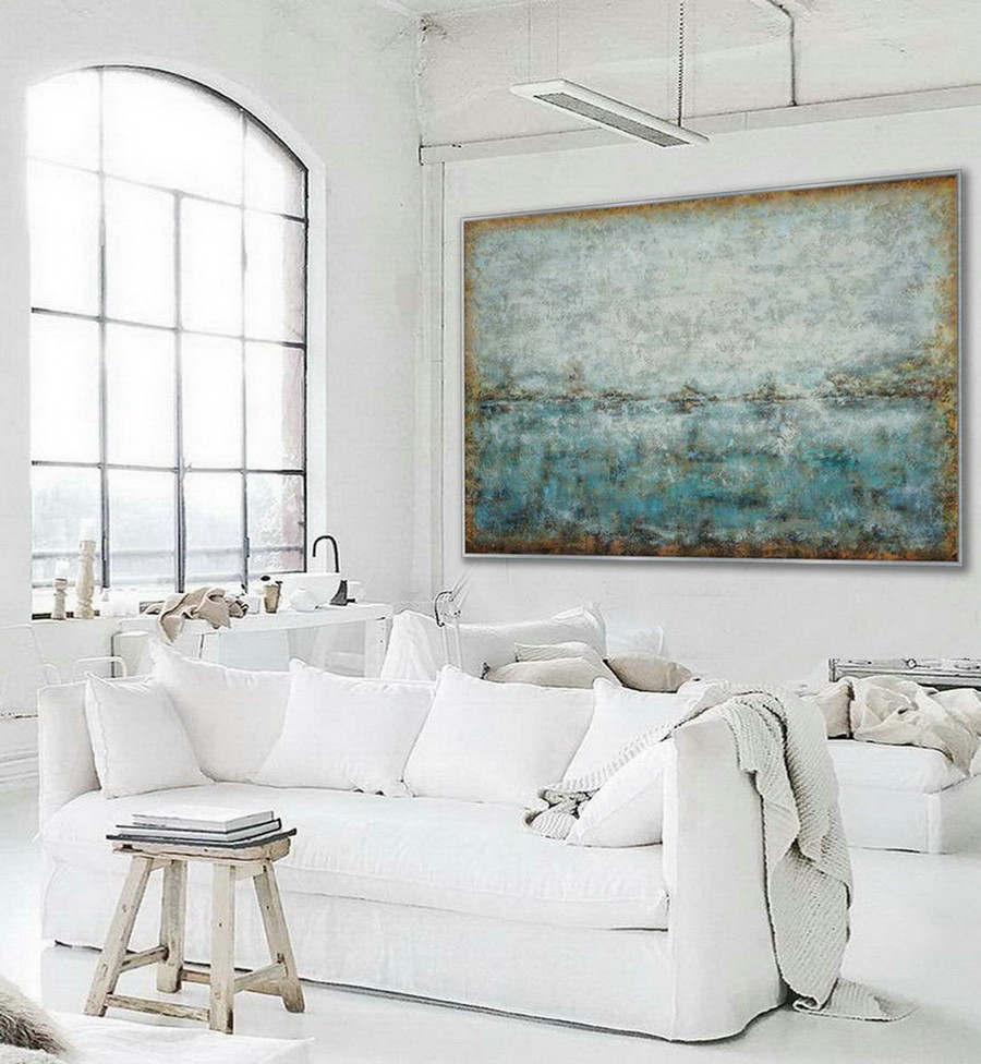 Minimal Modern Neutral Color Abstract Wall Art Work Simple Minimalist Contemporary Artwork Extra Large Horizontal Canvas Oil Painting