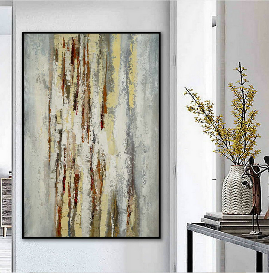 Simple Minimal Modern Neutral Wall Art Abstract Rustic Minimalist Contemporary Hand Painted Acrylic Canvas Painting Extra Large
