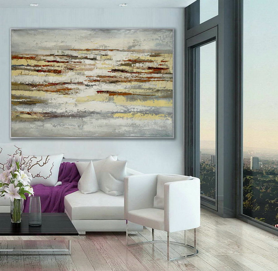 Minimal Modern Neutral Color Abstract Wall Simple Minimalist Contemporary Artwork Extra Large Horizontal Canvas Acrylic Painting