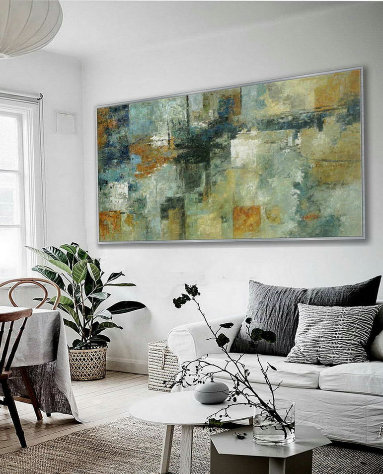 Panoramic Modern Contemporary Wall Art Large Horizontal Thick Texture Palette Knife Abstract Neutral Color Oil Painting on Canvas 72""