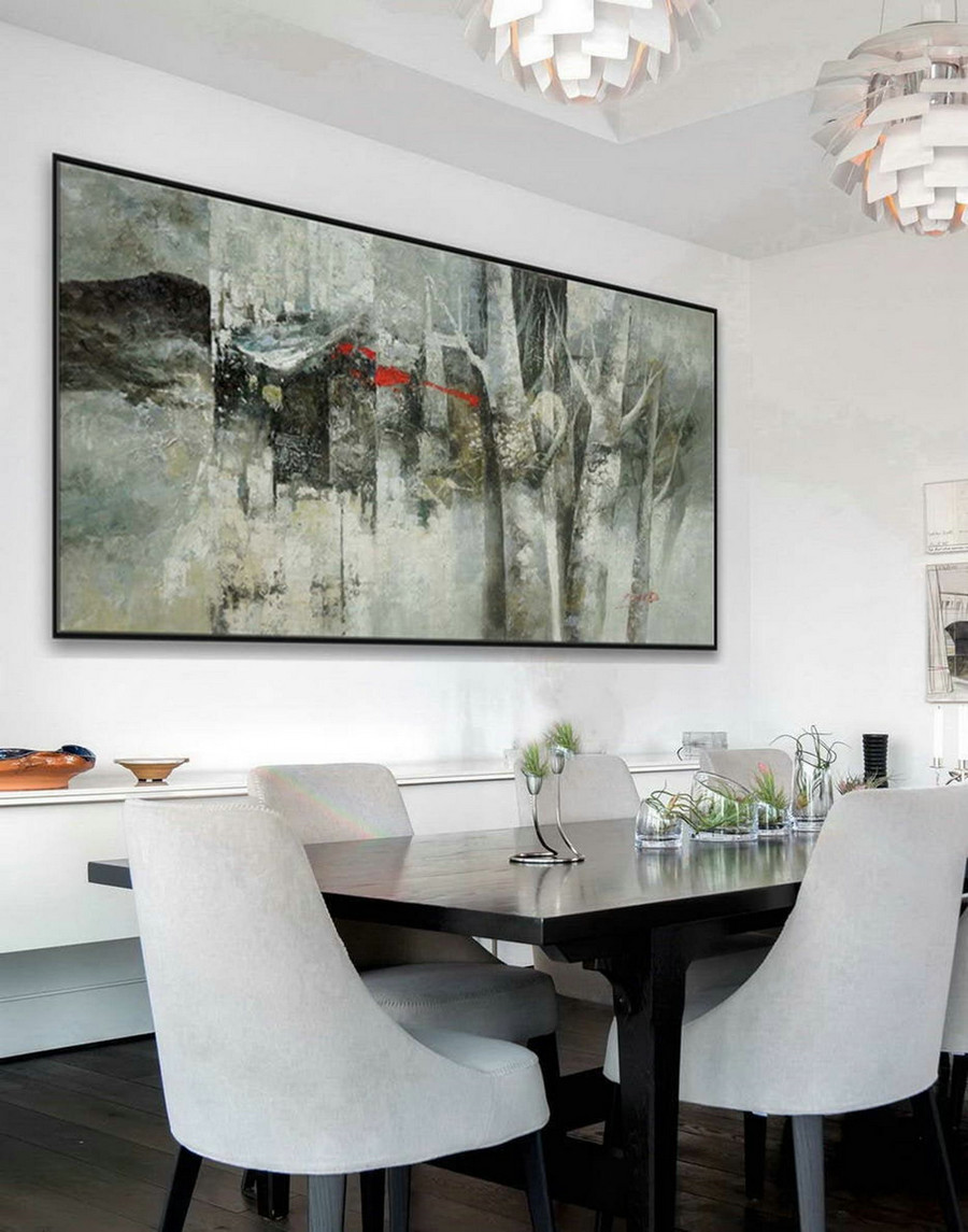 Panoramic Modern Contemporary Wall Art Large Horizontal Thick Texture Palette Knife Abstract Canvas Oil Painting Gray