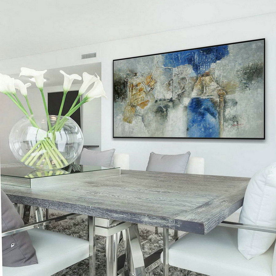Panoramic Modern Contemporary Wall Art Large Horizontal Thick Texture Palette Knife Abstract Canvas Oil Painting Gray Turquoise Blue