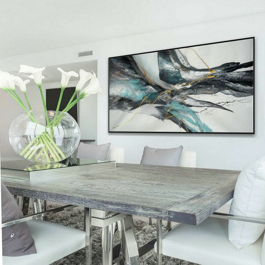 Panoramic Wall Art Modern Contemporary Neutral Color Large Horizontal Texture Abstract Acrylic Painting on Canvas Gray Turquoise Blue