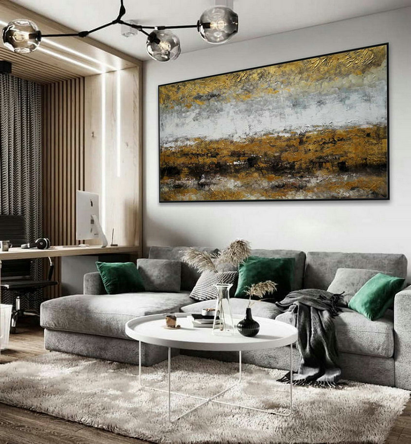 Minimalist Contemporary Modern Neutral Color Panoramic Canvas Wall Art Large Horizontal Texture Minimal Abstract Acrylic Painting