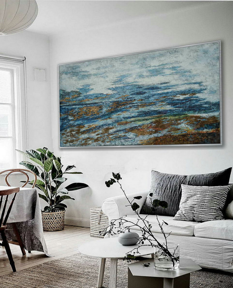 Simple Easy Minimalist Contemporary Modern Neutral Color Panoramic Wall Art Large Horizontal Texture Minimal Oil Painting on Canvas