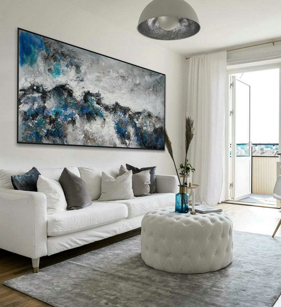 Modern Contemporary Neutral Color Panoramic Wall Art Large Horizontal Heavy Texture Abstract Acrylic Painting Gray Turquoise Blue