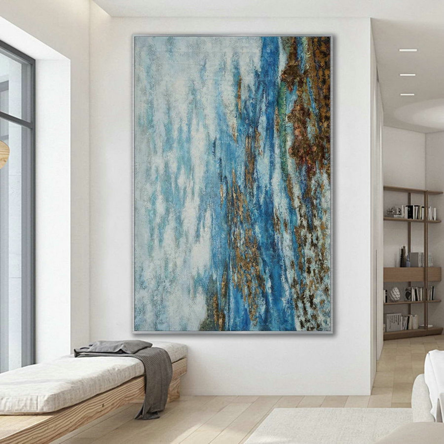 Simple Minimal Modern Neutral Wall Art Abstract Rustic Minimalist Contemporary Hand Painted Canvas Oil Painting Extra Large Vertical
