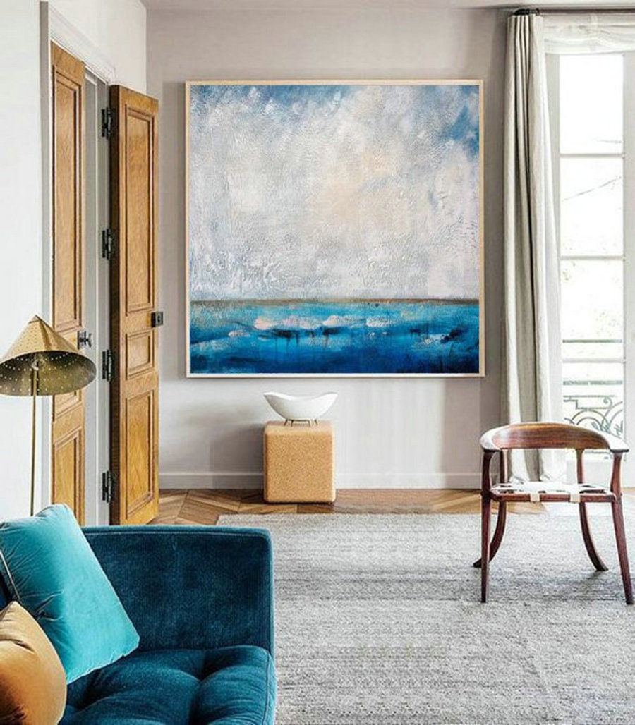 Living Room Art,Large Wall Art Abstract Painting,Ocean Painting,Large Sky And Sea Painting,Sea Blue Level Oil Painting,Ocean Canvas Painting