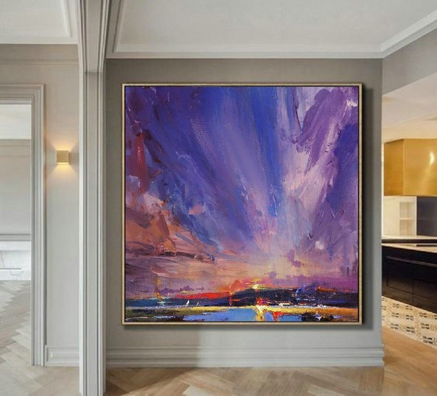 Original Painting Night View Of Coastline,Large Wall Sky Painting,Cloud Abstract Painting,Sky Abstract Painting,Night Sky Canvas Painting