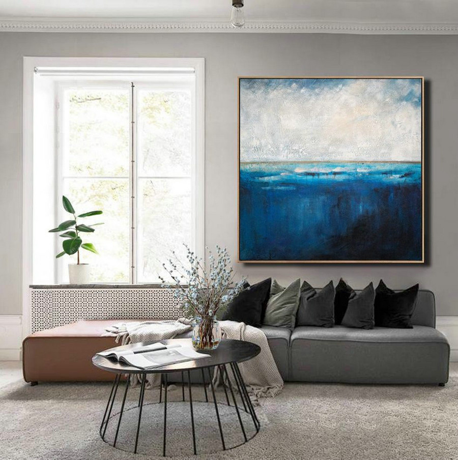 Ocean Canvas Painting,Deep Blue Sea Level Painting,Large Abstract Art,Original Large Wall Art Painting,Blue Ocean Painting,Living Room Art