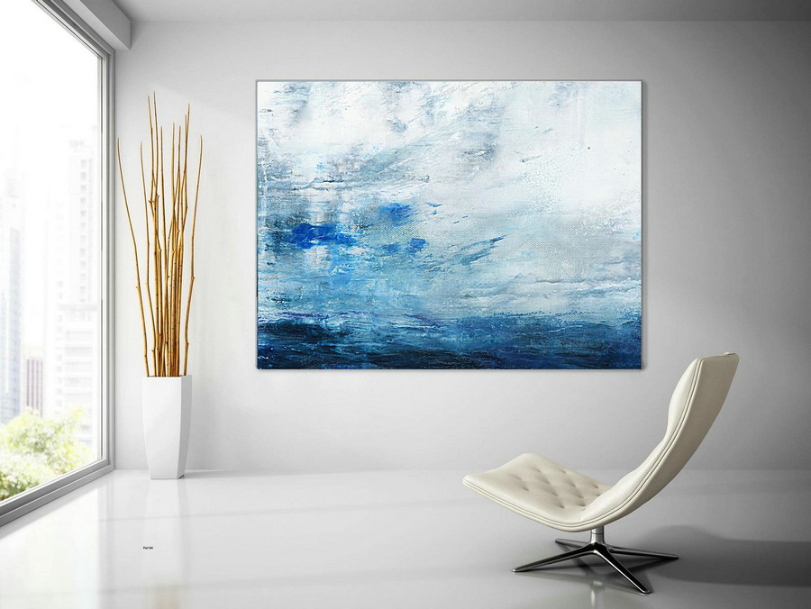 Original Seascape Art Painting,Large Cloud Oil Painting,Large Wall Canvas Oil Painting,Large Sea Abstract Landscape Painting