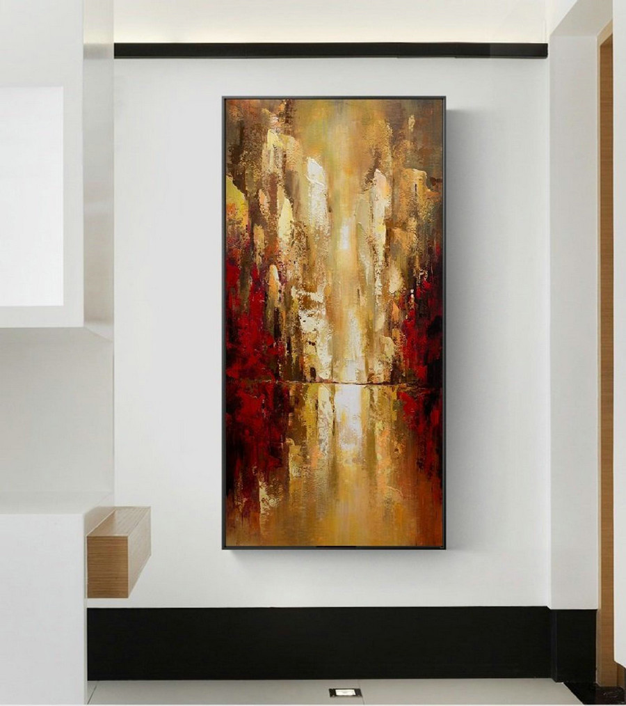 Cityscape Art Painting,Original Urban Art Oil Painting,Large Wall Art Oil Painting,Golden Wall Art Oil Painting,Golden Oil Painting Artwork