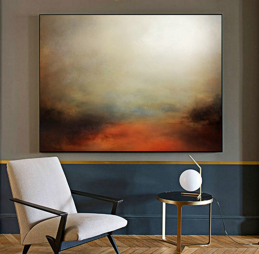 Minimalist Abstract Painting Of The Sky, Large Wall Sky Abstract Painting,Large Sky Landscape Oil Painting,Convergent Sea Landscape Painting