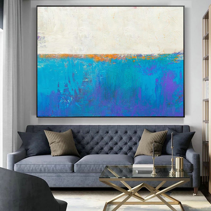 Original Blue Seascape Skyline Painting,Large Abstract Art,,Large Abstract Painting on Canvas,Abstract Art,Large Wall Canvas Oil Painting