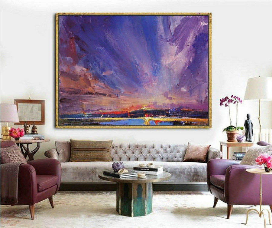 Original Painting Night View Of Coastline,Sky Abstract Painting,Coastal Landscape Painting,Large Wall Sky Painting,Night Sky Canvas Painting