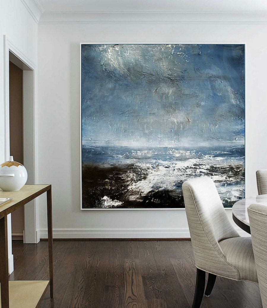 Original Sea Abstract Art Painting,Abstract Painting on Canvas,Large Ocean Canvas Painting,Seascape Abstract Oil Painting,Large Abstract Art