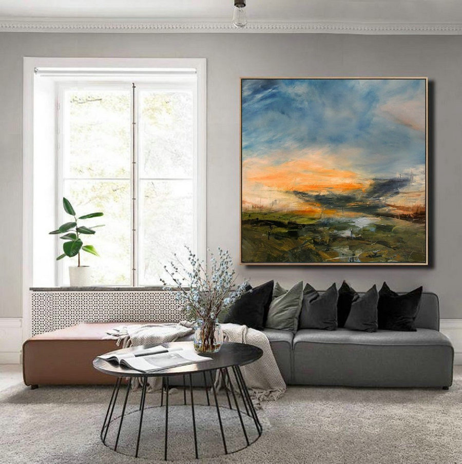 Original Sky Landscape Painting,Large Wall Sky Abstract Painting,Minimalist Abstract Painting Of The Sky,Convergent Sea Landscape Painting