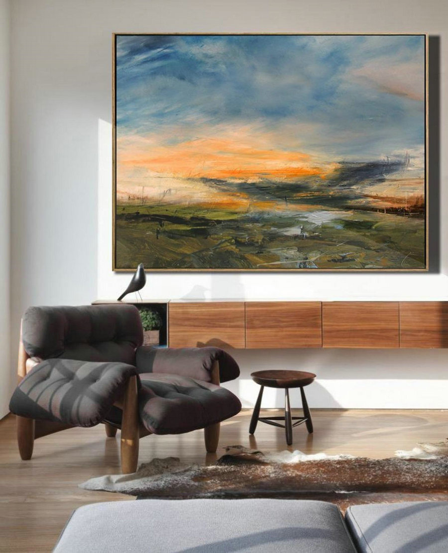 Large Sky Landscape Painting,Large Wall Sky Abstract Painting,Convergent Sea Landscape Painting,Minimalist Abstract Painting Of The Sky