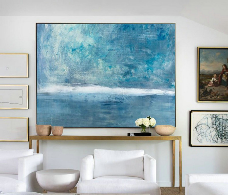 Original Sky Sea Canvas Painting,Large Sky And Sea Painting,Sea Blue Level Oil Painting,Large Wall Sea Painting,Marine Landscape Painting