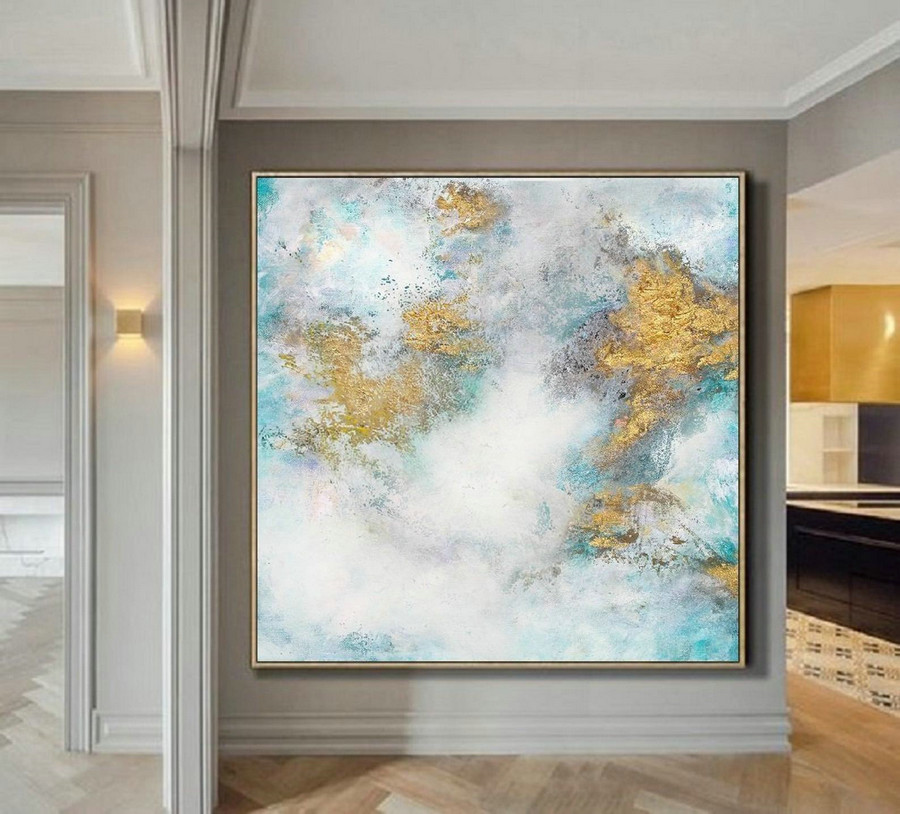 Cloud Abstract Painting,Large White Gold Abstract Art Oil Painting On Canvas,Gold Painting,Original Abstract Canvas Wall Art Office Decor