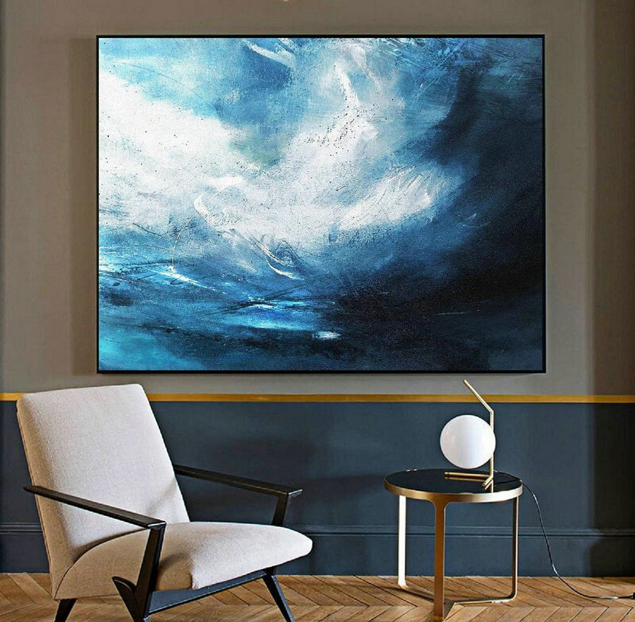 Original Blue Abstract Sky Oil Painting,Abstract Art Painting,Large Wall Canvas Oil Painting,Large Abstract Art,Abstract Painting on Canvas