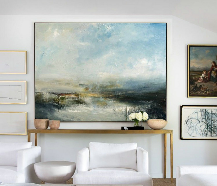 Large Sky And Sea Painting,Sky Landscape Painting,Large Wall Ocean Painting,Original Sky And Sea Canvas Painting,Marine Landscape Painting