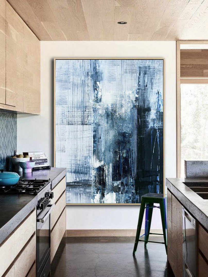 Original Deep Blue Abstract Art,Minimalist Abstract Painting,Large Abstract Oil Painting,Living Room Art Painting,Large Wall Canvas Painting