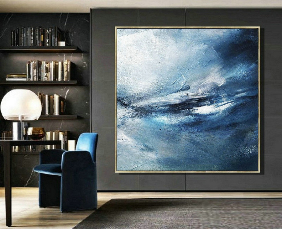 Original Sea Abstract Art Painting,Abstract Painting on Canvas,Blue Abstract OilPainting,Large Abstract Art,Large Ocean Canvas Painting