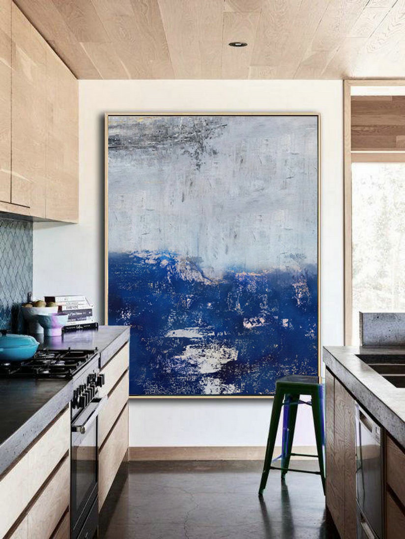 Large Original Abstract Art Painting,Abstract Painting On Canvas,Large Abstract Deep Blue Painting,Abstract Art,Large Wall Canvas Painting