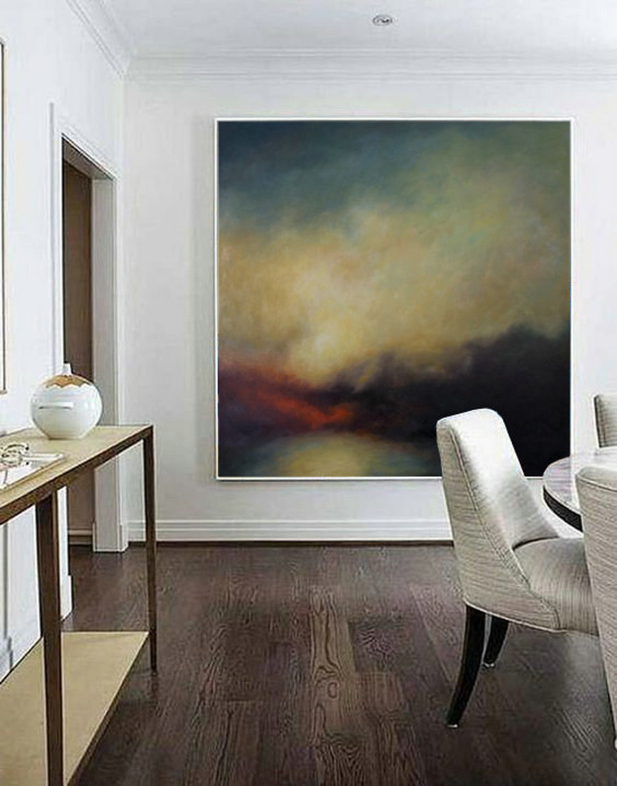 Sky Abstract Art Painting,Large Canvas Oil Painting,Nature Wall Art,Hand-painted Large Canvas Painting Wall Art,Heavy Rain Oil Painting Art
