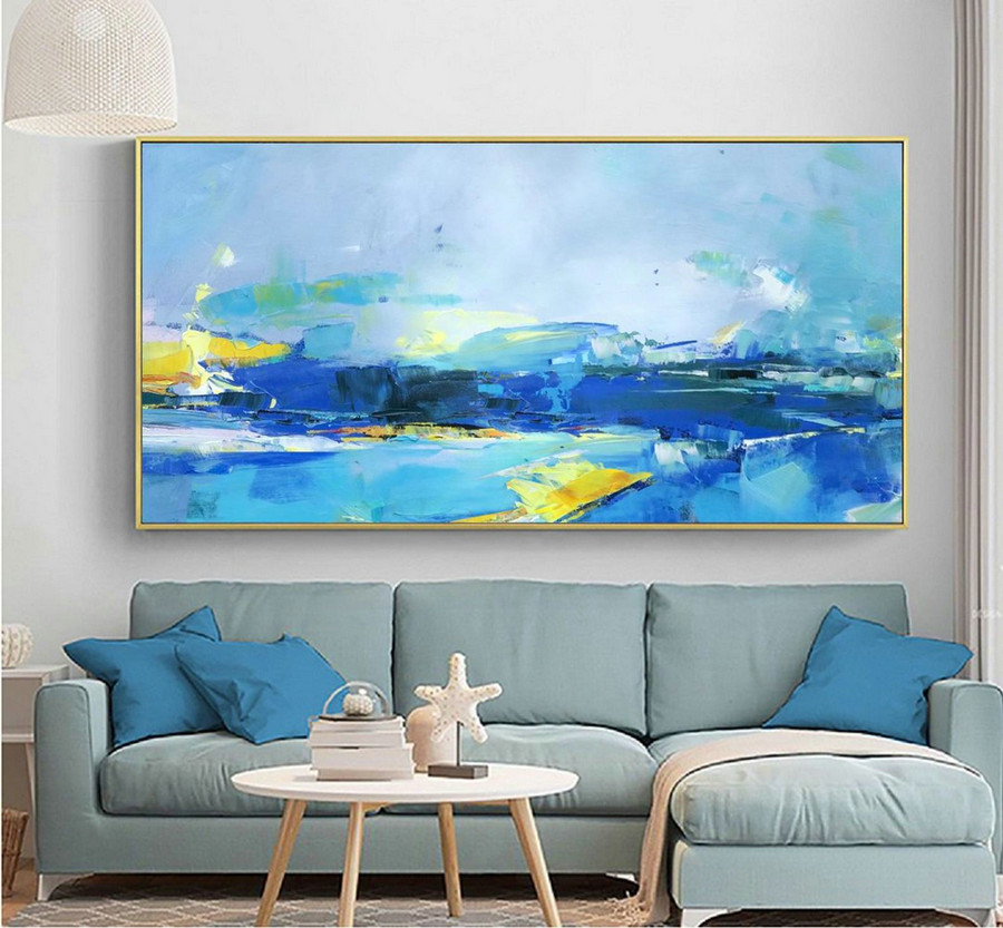 Deep Blue Abstract Painting Yellow Abstract Painting,Original Abstract Art Painting,Abstract Painting on Canvas,Large Wall Canvas Painting