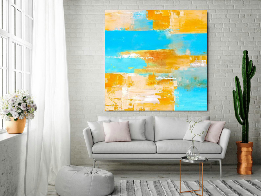 Large Color Abstract Painting On Canvas,Blue Abstract Painting Orange Abstract Painting,Abstract Canvas Wall Art Painting,Oil Painting