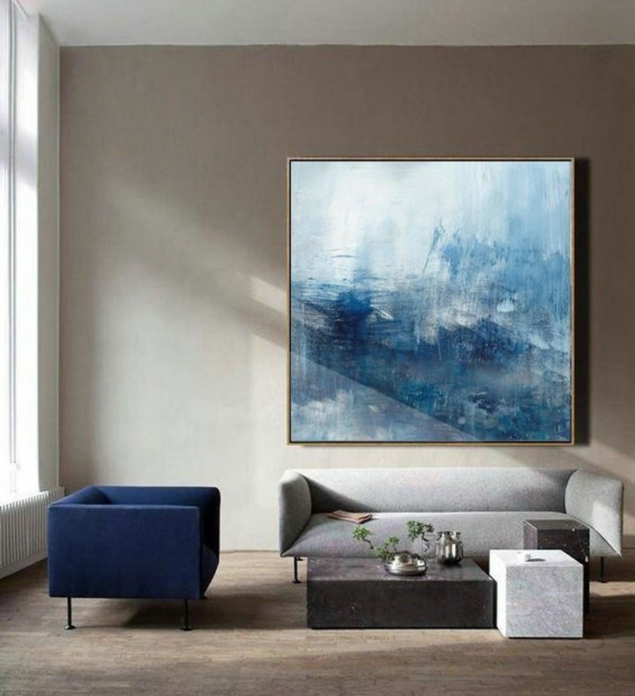 Original Sea Abstract Painting, Sea Landscape painting, Blue Oil Painting,Large Wall Art Blue Abstract Painting,Large Waves Canvas Painting