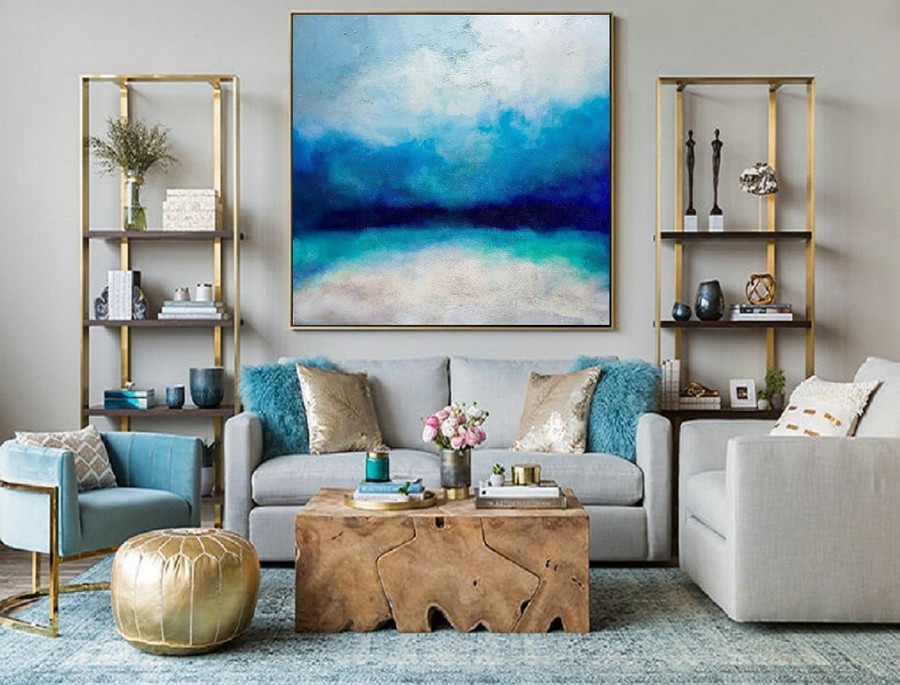 Large Ocean Canvas Oil Painting, Original Turquoise Sea And Blue Sky Landscape Painting, Sky Landscape Oil Painting, Large Wall Sea Painting