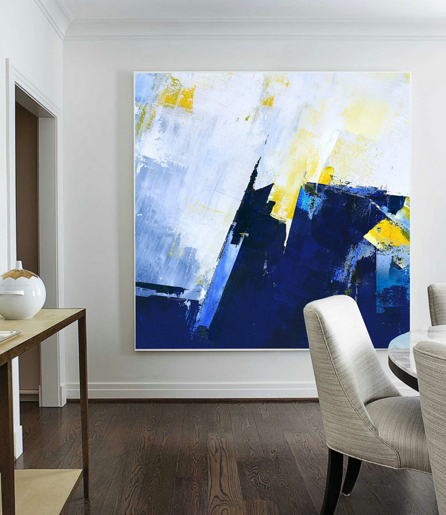 Large Abstract Blue Oil Painting,Super Texture Palette Abstract Oil Painting On Canvas,Abstract Painting,Blue Abstract Canvas Oil Painting