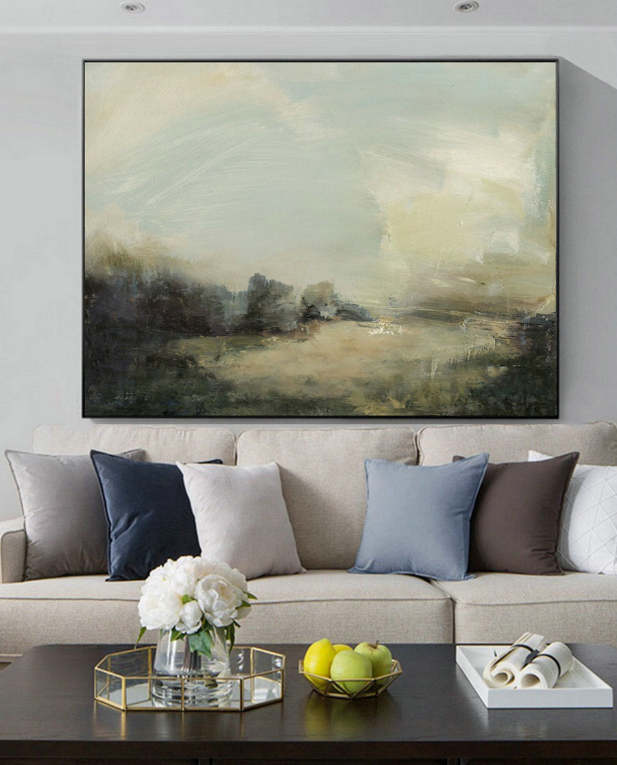 Large Grey Green Abstract Painting,Light Green Landscape Oil Painting,Original Abstract Painting on Canvas,Beige Cloud Abstract Art Painting