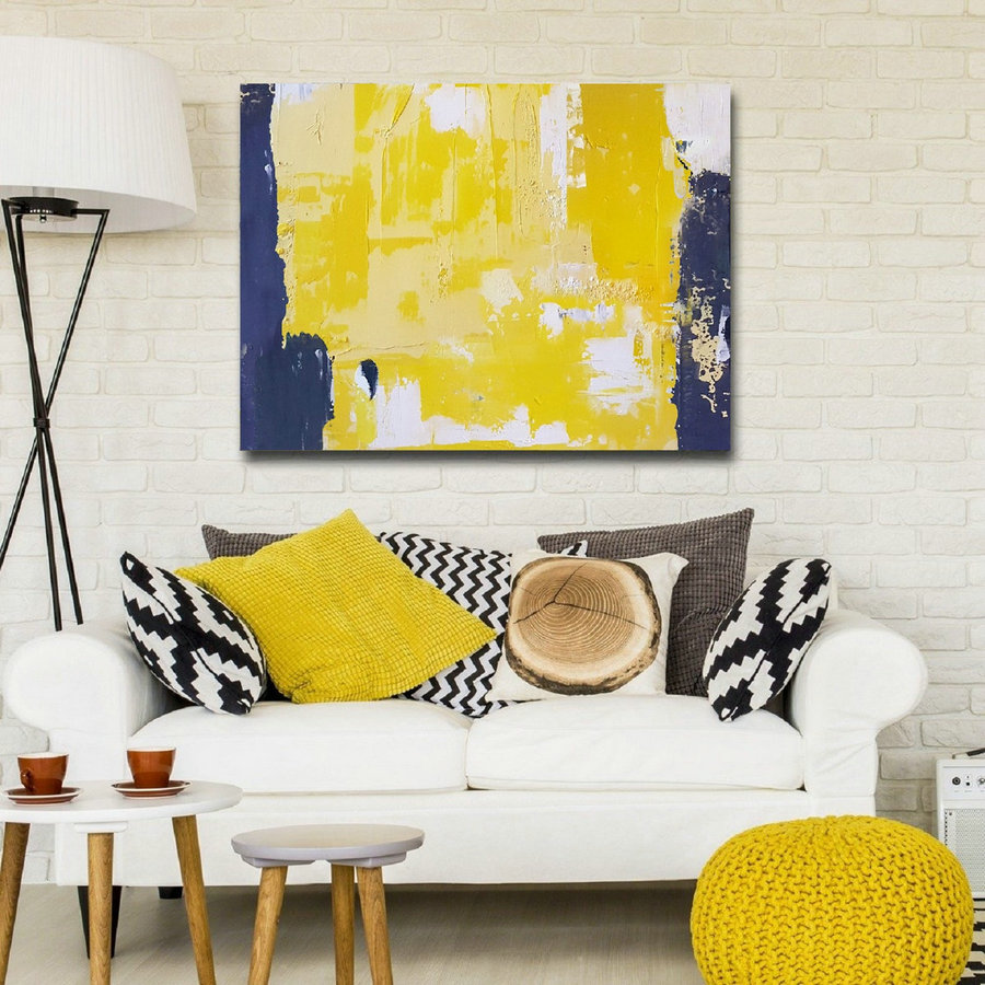 Original Yellow Abstract Wall Art,White Abstract Painting,Blue Abstract Art,Large Wall Art Canvas Painting,Canvas painting,Living Room Art
