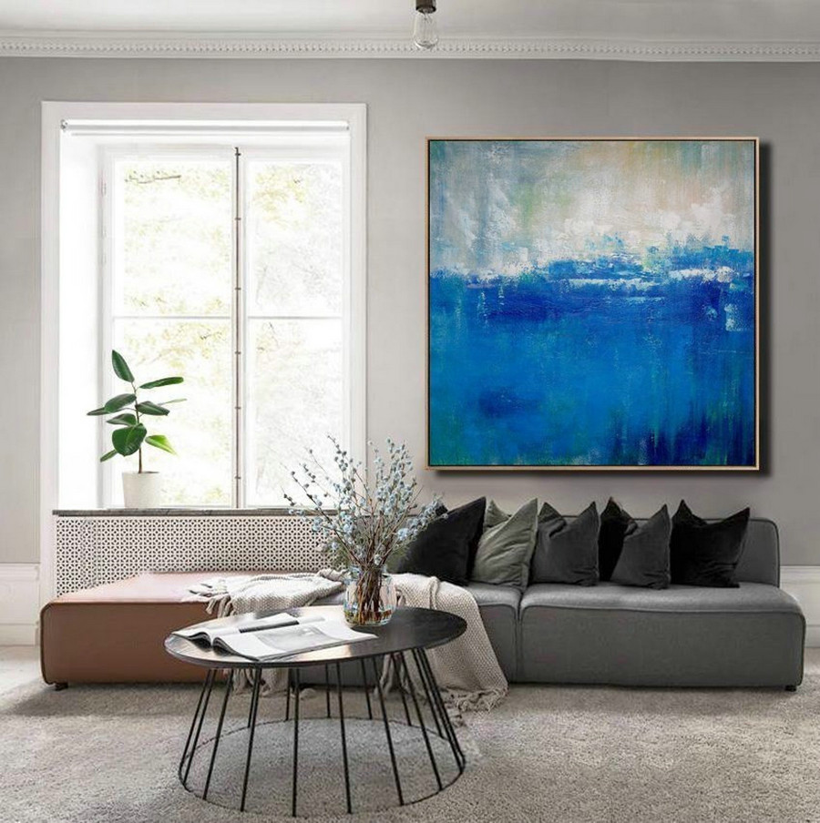 Large DEEP Blue Sea Abstract Painting,Blue Ocean Oil Painting,Original Blue Ocean Painting,Wall Art Abstract Painting,Sea Painting On Canvas