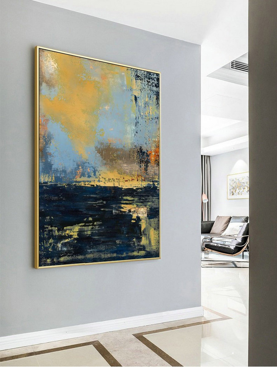 Original Deep Blue Abstract Art,Large Abstract Oil Painting,Minimalist Abstract Painting,Large Wall Canvas Painting,Living Room Art Painting