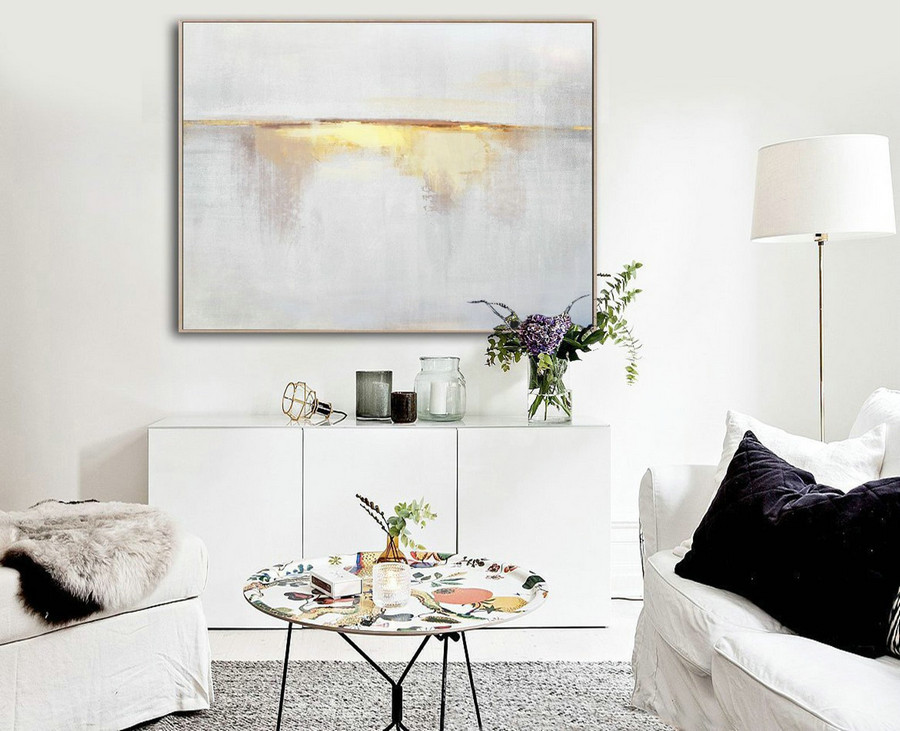 Sunrise Landscape Painting,Large Abstract Painting On Canvas,Beige Painting Gold Painting Abstract Painting,Ocean Art,Extra Large Wall Art