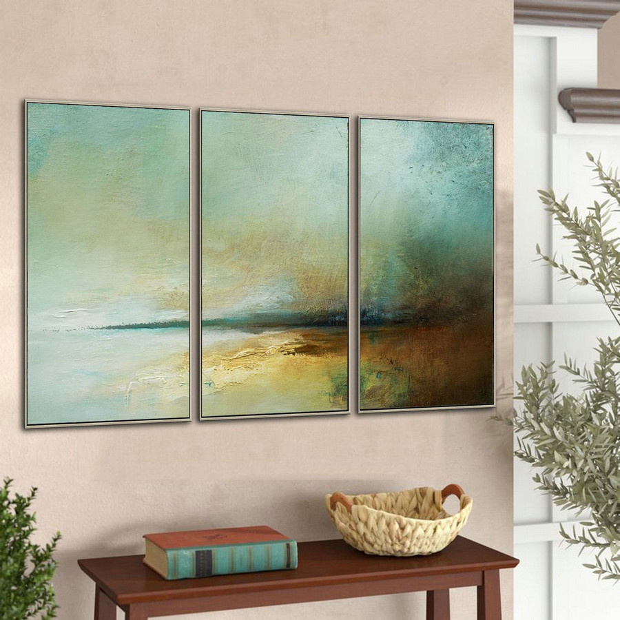 Original Large Ocean Canvas Painting,Landscape Abstract Painting,Large Sky Sea Painting,Beach Texture Painting,Wall Painting For Living Room