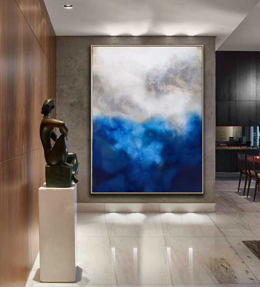 Original Blue Painting Abstract,Cloud Abstract Painting,Large Abstract Art,Living Room Art,Modern Abstract Art,Large Wall Canvas Painting