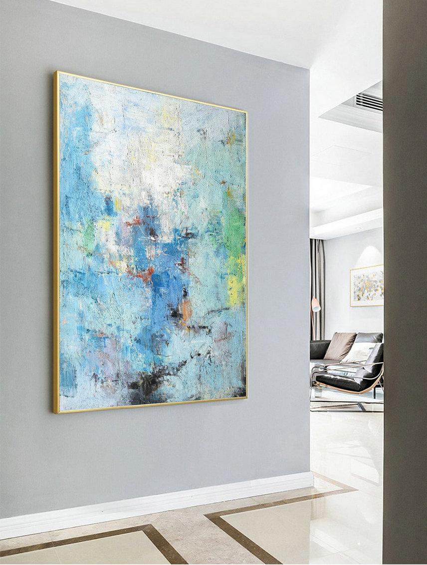 Large Dark Blue Abstract Painting,Blue Abstract Painting,Original Acrylic Abstract Painting,Canvas Abstract Art,Large Wall Canvas Painting