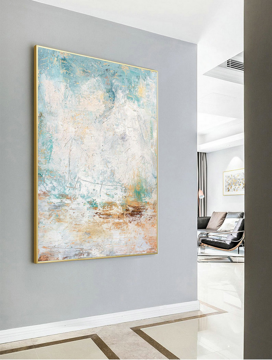 Acrylic Painting Large Abstract White Abstract Painting,Original White Sky Abstract Painting,Nature Abstract Art,Large Wall Canvas Painting