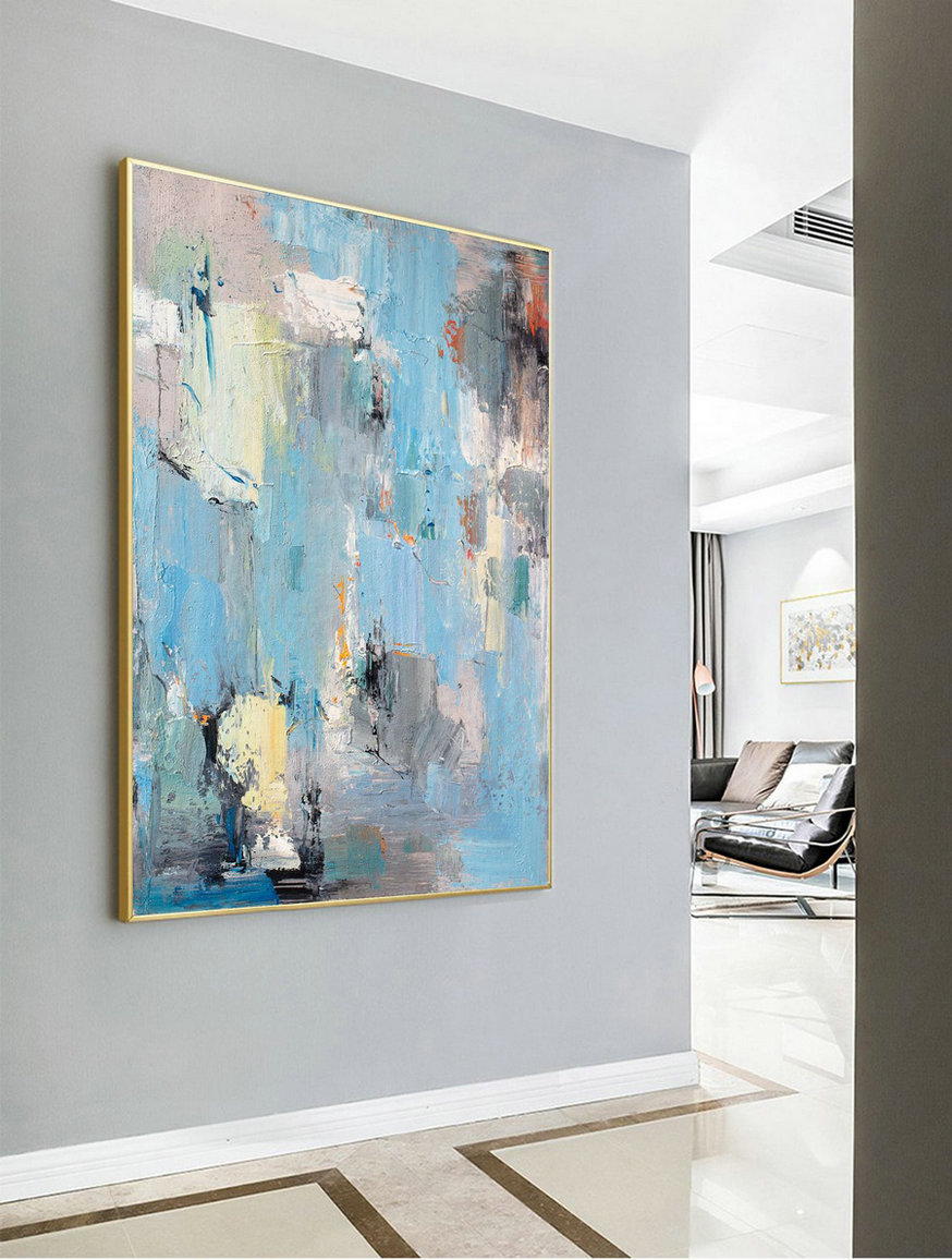 Large Abstract Acrylic Painting,Original Blue Abstract Painting,Large Canvas Art,Acrylic Abstract Paintings On Canvas,Contemporary Art