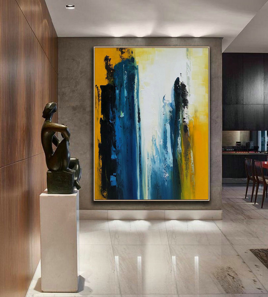 Original Blue Abstract,White Abstract Art,Black Abstract Painting,Yellow Abstract Painting,Nature Abstract Canvas Painting,Living Room Art