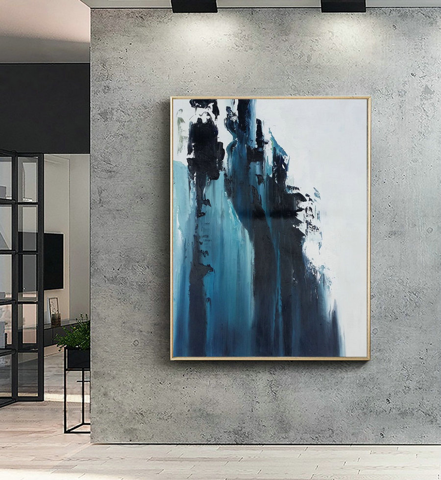 Large Dark Blue Abstract Painting,White Abstract Painting,Large Wall Decorative Art,Abstract painting of Giant Peak Landscape,Abstract Art