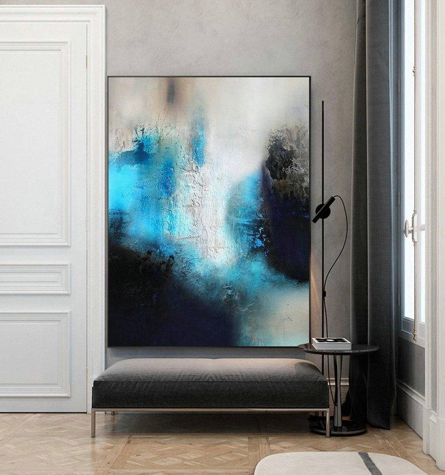 Blue Painting Black Painting White Abstract Painting,Minimalist Style Abstract Painting,Large Wall Abstract Canvas Painting,Living Room Art